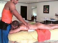 Gay stud getting full body massaged