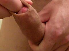 Shaved Uncut Cock Get Hard, Foreskin Play Masturbation