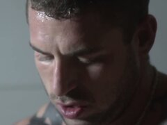 Athletic straight hunk stretches studs ass
