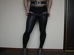 New bodtstockings and black shiny leggings