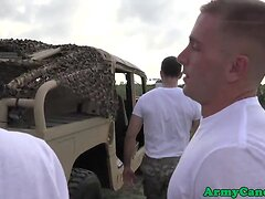 Military studs assfuck and cocksuck outdoors