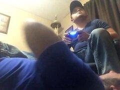 Under sexy gamers feet