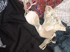 Using Japanese bras and panties stained cum