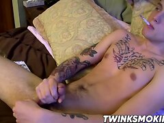 Sexy tight ass twink Chris Porter smokes and jacks off well