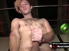 Blonde twinkie Jay caresses his massive fuck stick solo