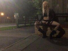 Crossdresser stripping by road