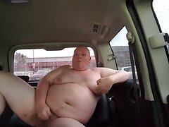 Fat man wanks in public car park