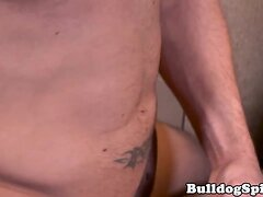Dominant hunk cums on bonded assfucked twink