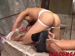 Two big dicked hunks fucking in an evil dungeon for jizz